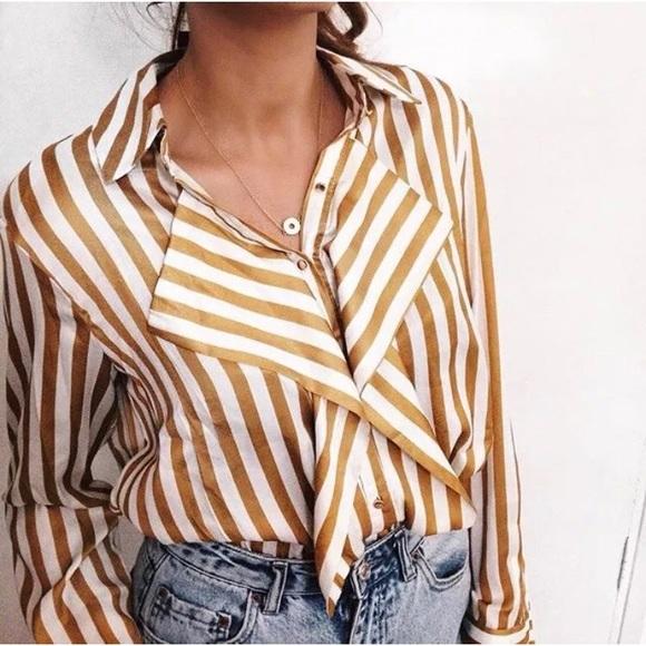 a101d74d8ef7fe zara satin gold striped blouse. M_5a9199269d20f00d69af0c1c
